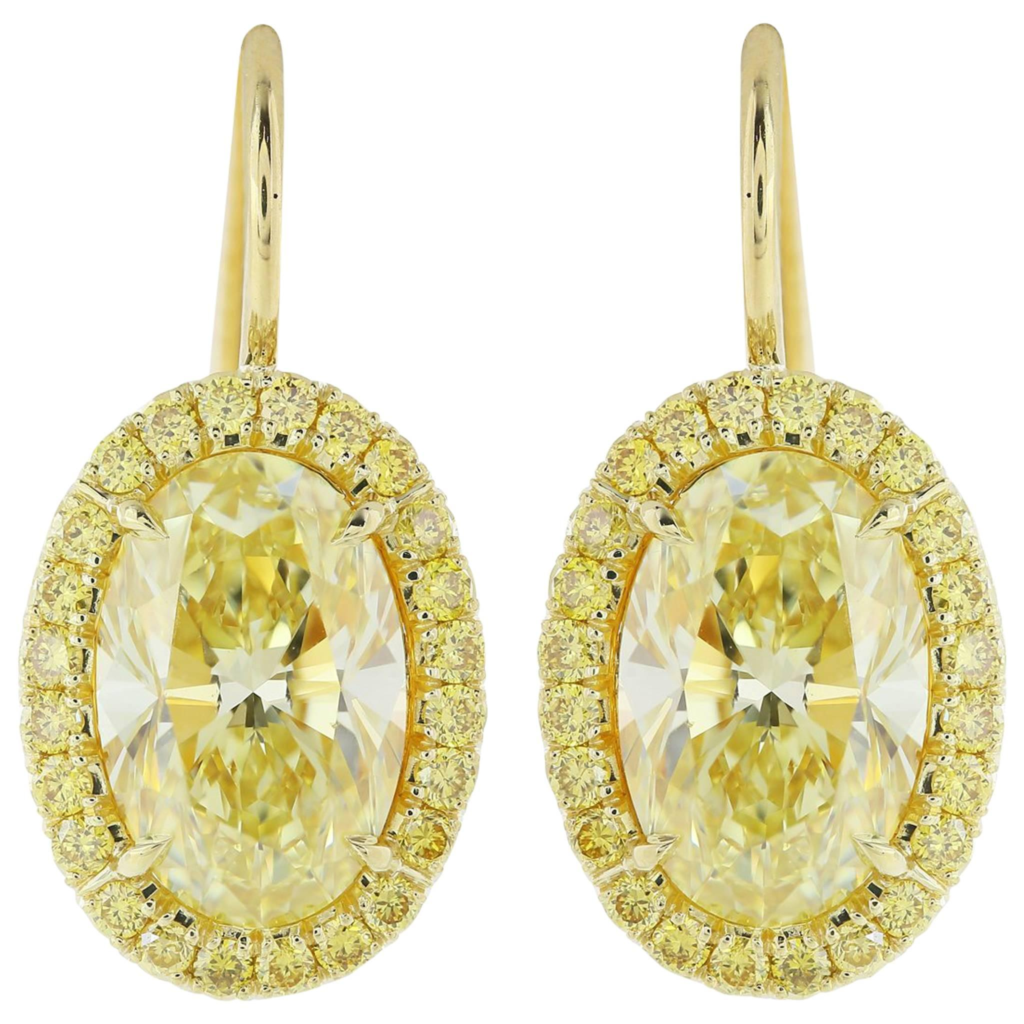 in fancy de canary yellow carat tone two gold intense earrings diamond