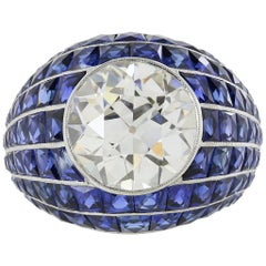 GIA 5.03 Carat Diamond  Sapphire Platinum Ring