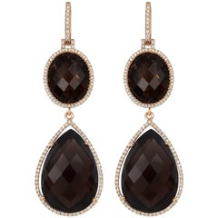 Tivon 18ct Rose Gold long hanging dangly Smokey Quartz and Diamond Earrings