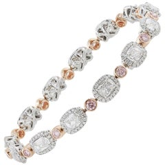 8.16 Carat Cushion Cut White/Pink Diamond Bracelet