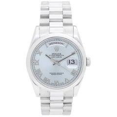 Rolex Platinum President Glacier Blue Dial Day-Date Wristwatch Ref 118206