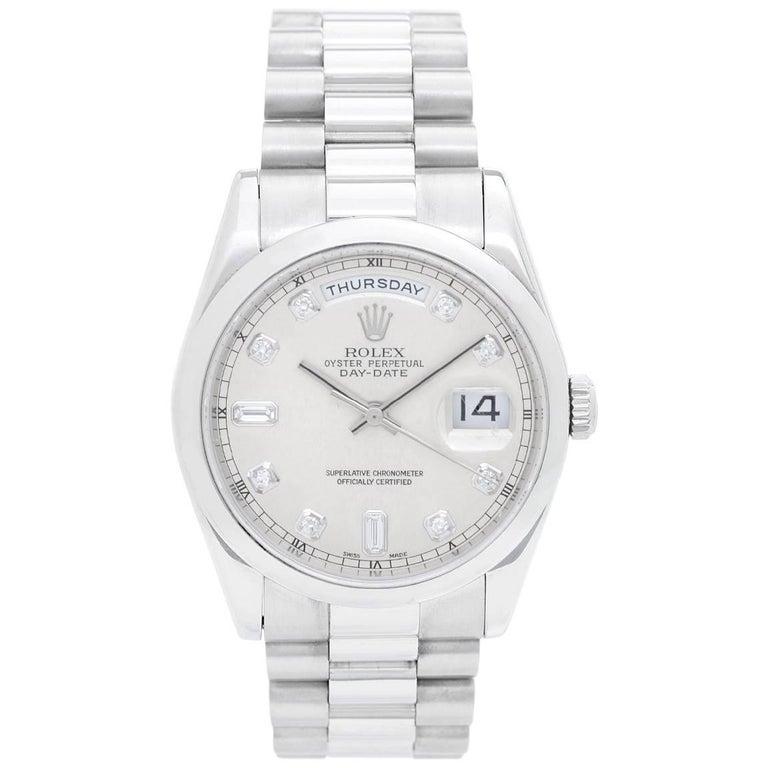 Rolex Platinum Rhodium Dial President Day-Date Wristwatch Ref 118206