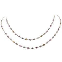50 Carat Total Weight Sapphire Estate Necklace 18 Karat Rose Gold