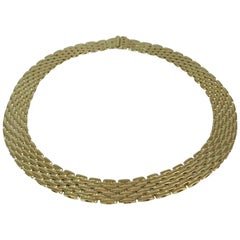 "18 Karat Yellow Gold ""Panther Link"" Seven Row Necklace"