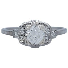 Antique Platinum .55 Carat Diamond Engagement Ring Barth
