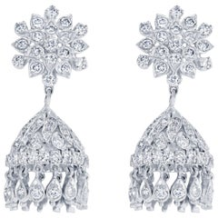 2.20 Carat Diamond Chandelier Earrings in 18 Karat White Gold