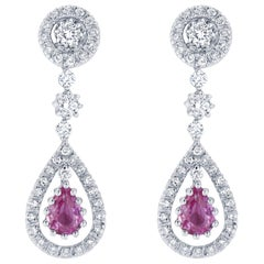 3.02 Carat Pink Sapphire Diamond Drop Earrings