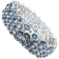 Oval Sapphire and Diamond Wide White Gold Bracelet