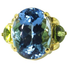 Huge Blue Topaz and Peridot 18KT Yellow Gold Ring