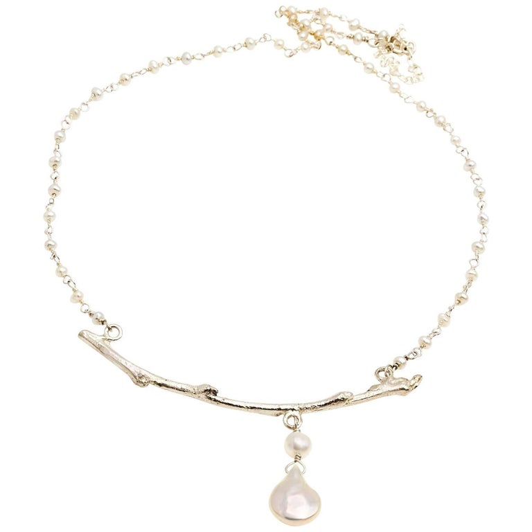 Silver Nature Branch and Pearl Necklace