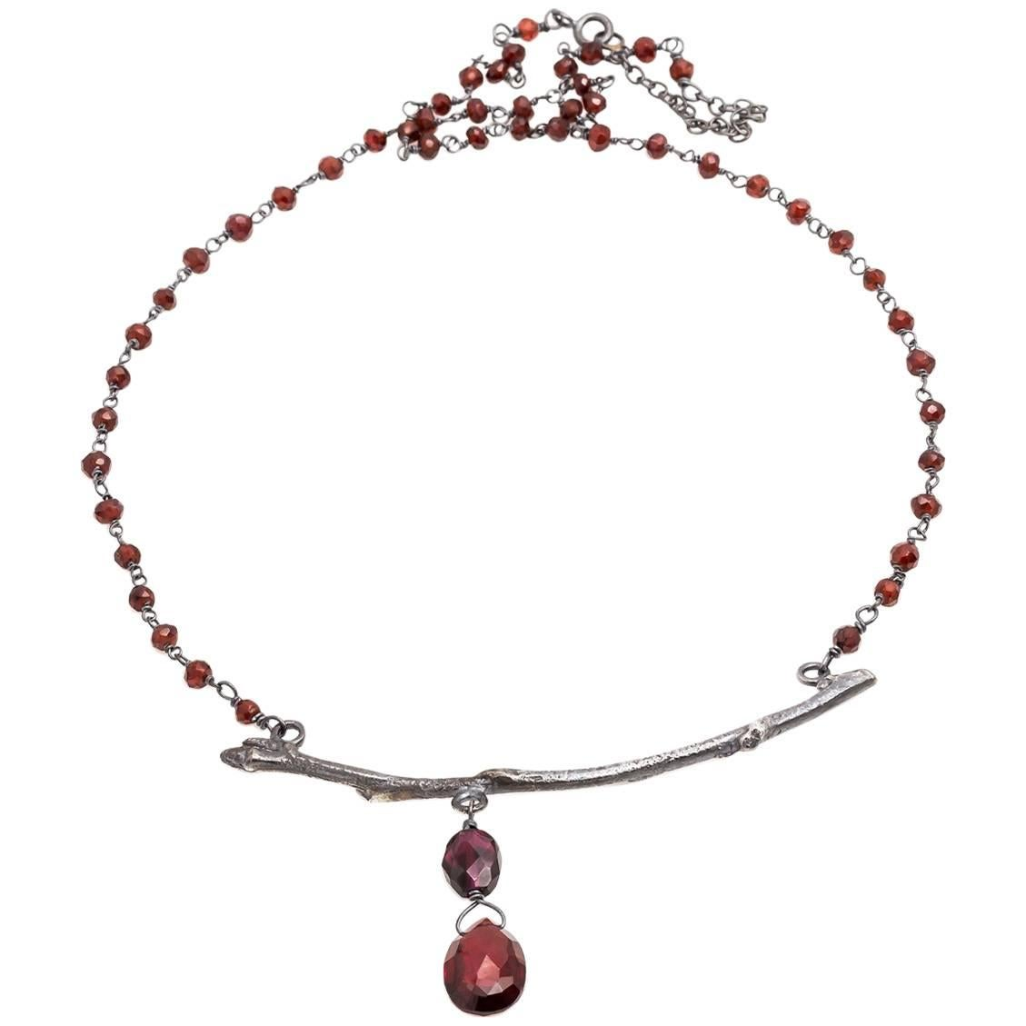 Dark Silver Branch and Garnet Bead and Drop Necklace