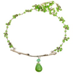 Peruvian Opal and Chrysoprase Branch Necklace