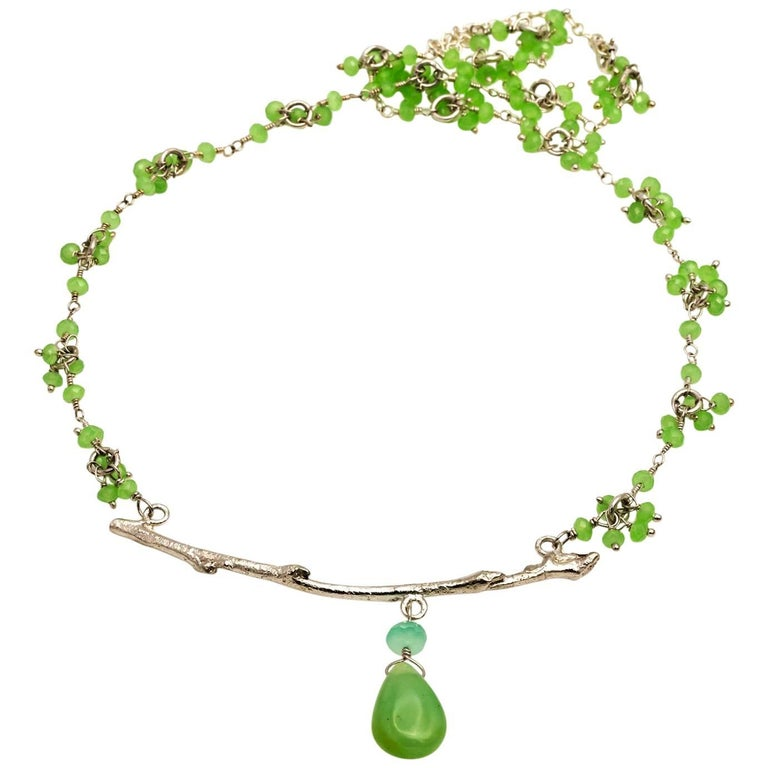 Peruvian Opal and Chrysoprase Branch Necklace 1