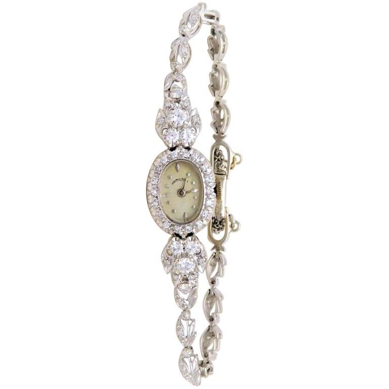 Hamilton Ladies White Gold Diamond Wristwatch, circa 1920