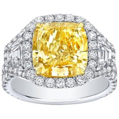 GIA Certified 4.62 Carat Fancy Yellow VS1 Cushion Canary Diamond Ring