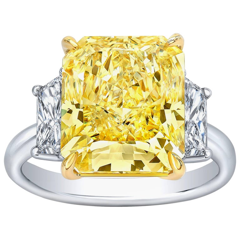 GIA Certified 7.89 Carat Fancy Yellow Radiant Cut Canary Diamond Ring