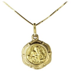 New, Petite and Elegant, 18 Carat Yellow Gold Communion Medal and Chain