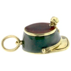 Enameled Pendant Cap from Bargais in 18 Karat Gold