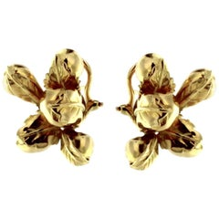 Pair of Earrings in Still Life Fruits in 18 Karat Yellow Gold