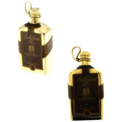 Solid Gold Pendant Depicting a Classic Bottle of Whiskey