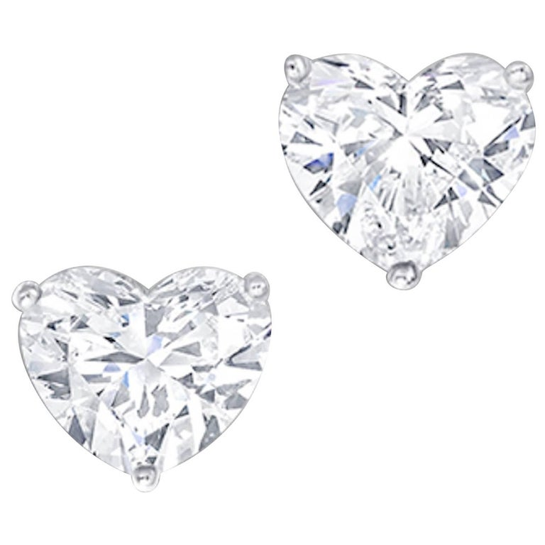 b729a61ab 3.06 D and 3.01 F Carat Flawless Heart Shape Diamond Stud Earrings For Sale