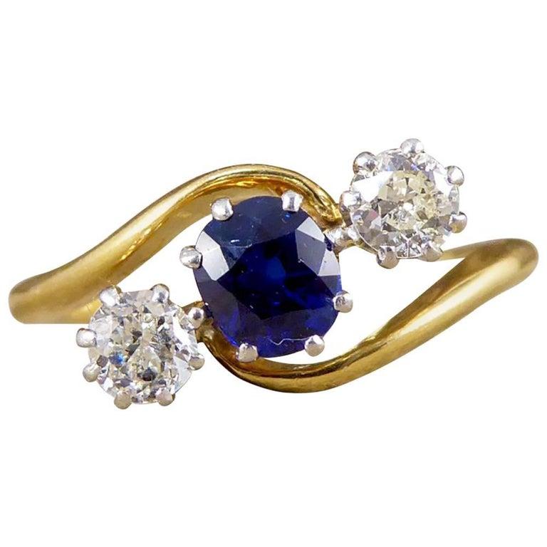 Antique Edwardian Sapphire And Diamond Three Stone Twist