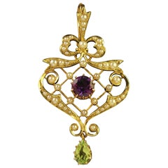 Antique Victorian 15 Carat Gold Suffragette Pendant, circa 1900