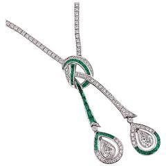 Shreve, Crump & Low Exquisite Diamond and Emerald Drop Necklace