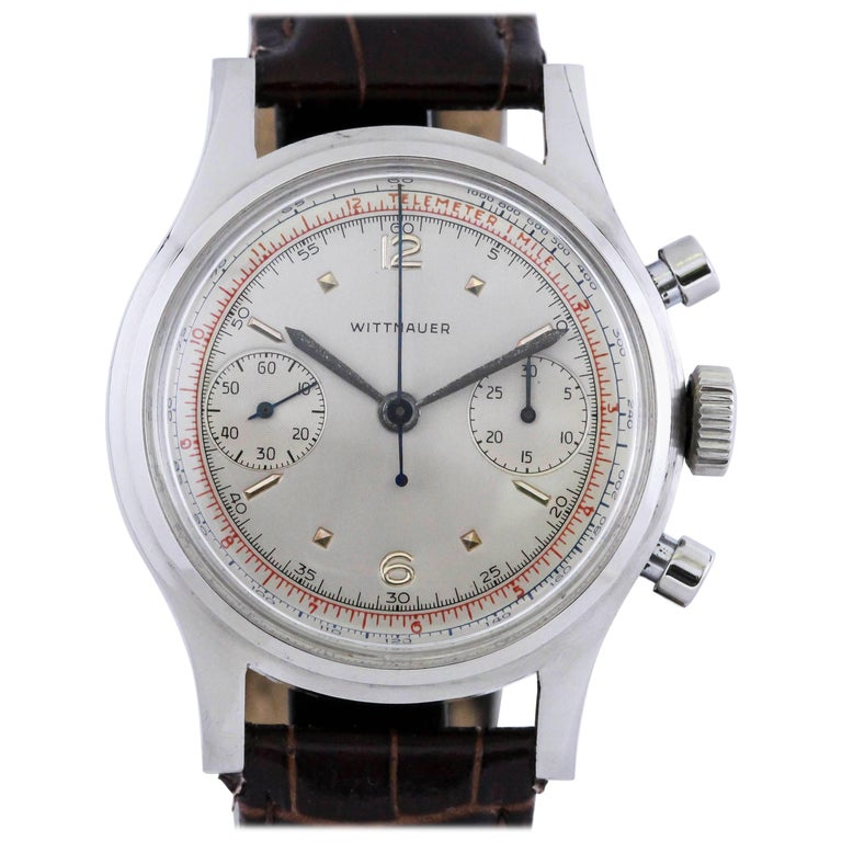 Wittnauer Stainless Steel Chronograph Manual Wristwatch, circa 1940s