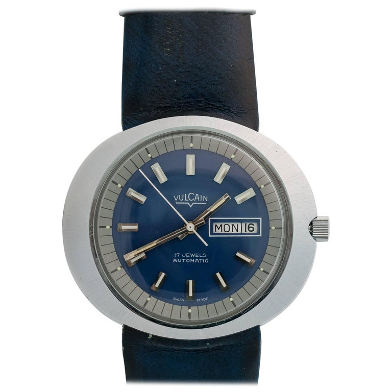 1940s Retro Vulcain Stainless Steel Wristwatch