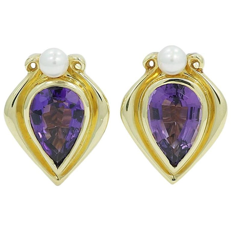 Pear Shaped Amethyst and Pear Yellow Gold Earrings