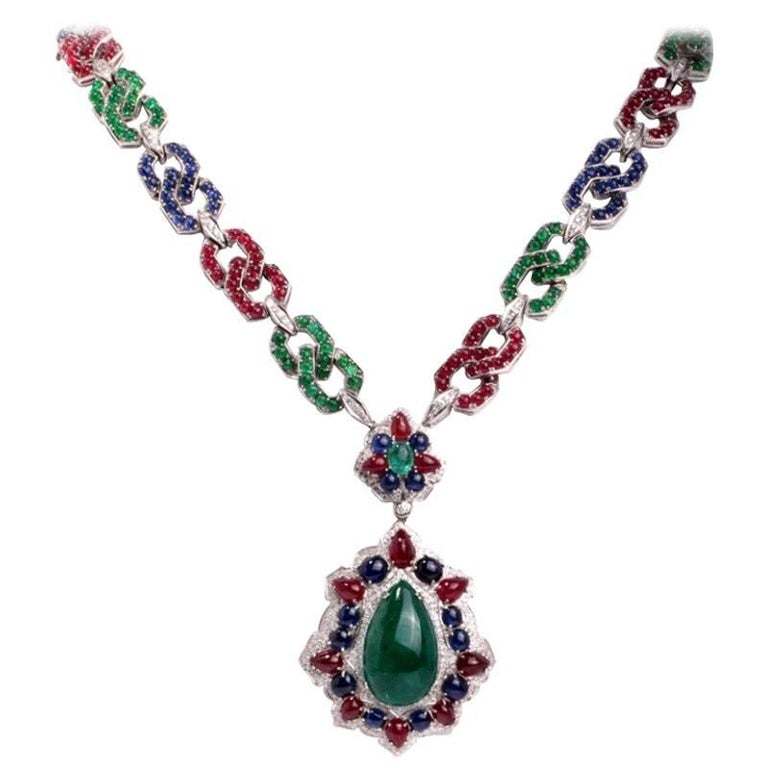 1960s Emerald Ruby Sapphire Diamond Gold Pendant