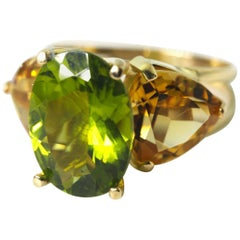 Gemjunky Spectacular Intense 6 Ct Peridot & 5 Ct Citrine 18Kt Yellow Gold Ring