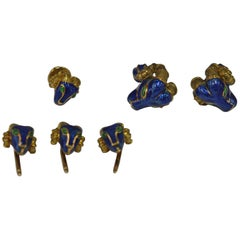 David Webb Yellow Gold Blue Enamel Ram Head Cufflink Set