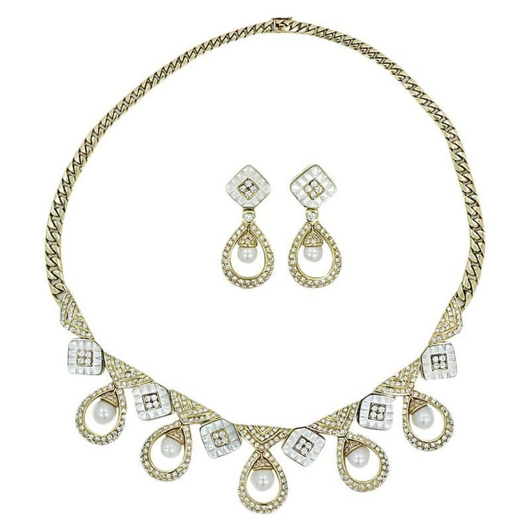 Yellow Gold Diamond and Pearl Necklace and Earring Set