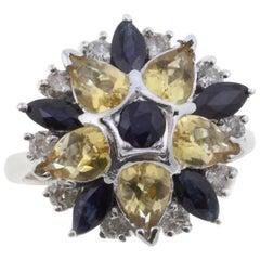 Diamond Sapphire and topaz yellow Fashion White Gold Ring