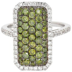Green Pave Diamond Ring with White Diamond Halo