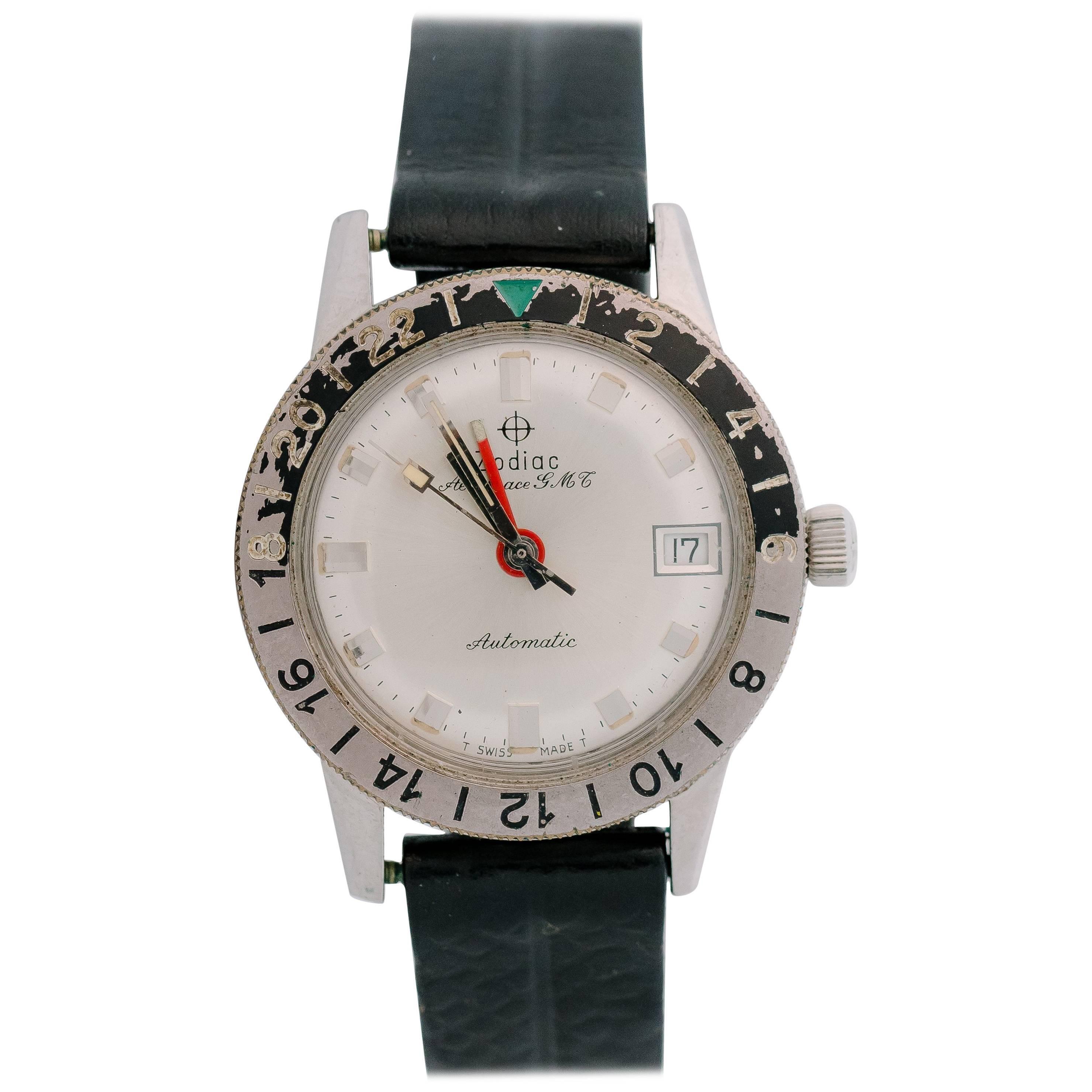 1950s Zodiac Aerospace GMT Stainless Steel Wristwatch