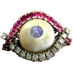 Unique Star Sapphire Diamond Ruby Mobe Pearl White Gold Eye Ring