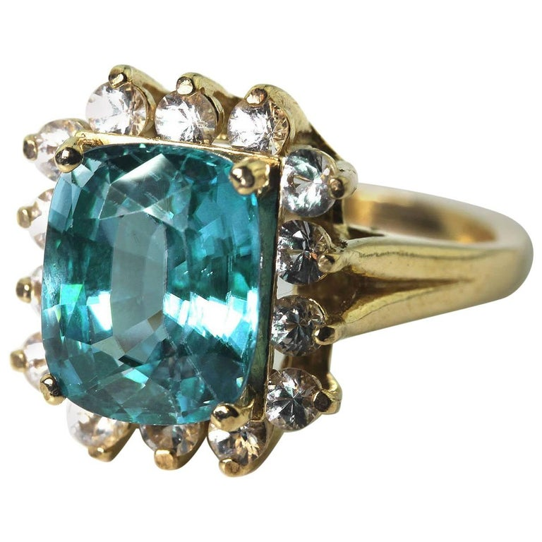 Glittering Zircon and Sapphire 14Kt Gold Ring