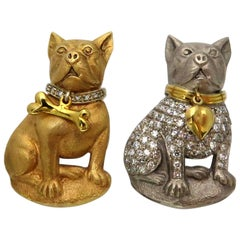Adorable Pair of Yellow and White Gold Diamond French Bulldog Moveable Pins