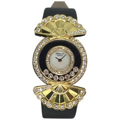 Chopard yellow gold diamond mother of pearl dial Happy Diamond quartz Wristwatch