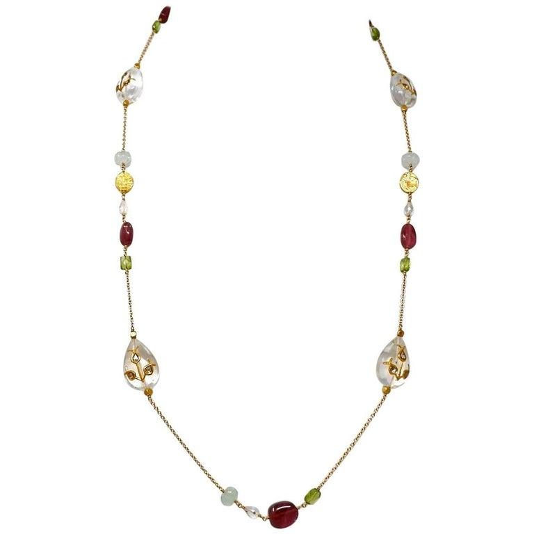 Dancing Apsara Aquamarine, Peridot, Rubellite, Gold and Diamond Sautoir Necklace