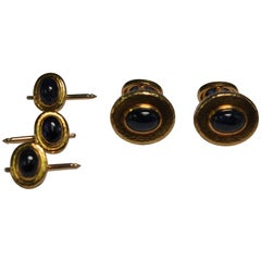 David Webb Cabochon Sapphire Yellow Gold Cufflink Set