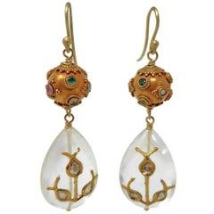Dancing Apsara Diamond, Yellow Gold and Precious Stone Drop Bead Earrings