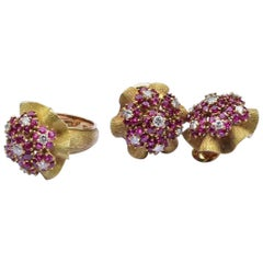 Vintage Diamond and Ruby Earrings and Ring Set