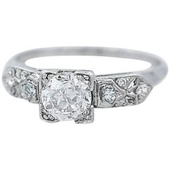 .94 Carat Diamond Antique Platinum Engagement Ring