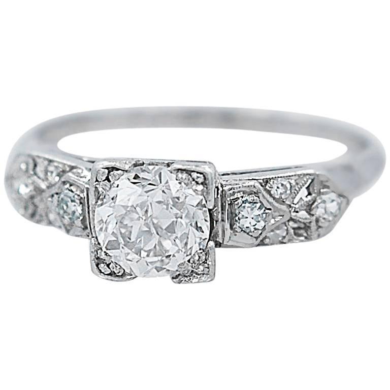 .94 Carat Diamond Antique Platinum Engagement Ring