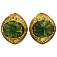 Peridot Diamond Citrine Gold Earrings, 1997
