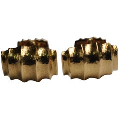 David Webb Yellow Gold Hand-Hammered Cufflinks